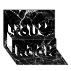 Black Marble Stone Pattern You Rock 3d Greeting Card (7x5)