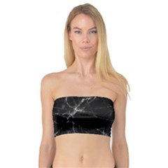 Black Marble Stone Pattern Women s Bandeau Tops