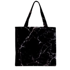 Black marble Stone pattern Zipper Grocery Tote Bags