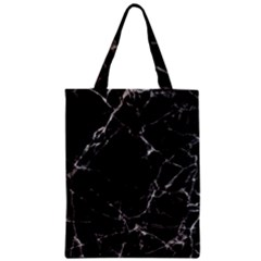 Black marble Stone pattern Zipper Classic Tote Bags