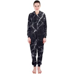 Black marble Stone pattern Hooded Jumpsuit (Ladies)