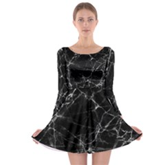 Black marble Stone pattern Long Sleeve Skater Dress