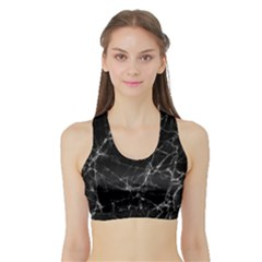 Black marble Stone pattern Women s Sports Bra with Border