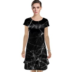 Black Marble Stone Pattern Cap Sleeve Nightdresses