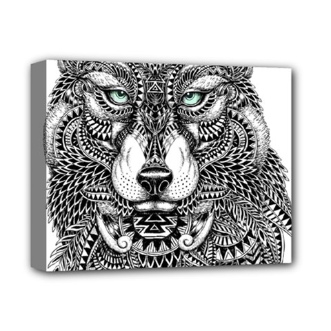 Intricate elegant wolf head illustration Deluxe Canvas 14  x 11