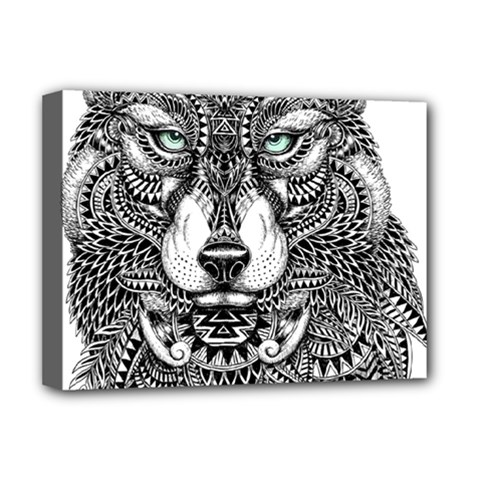 Intricate elegant wolf head illustration Deluxe Canvas 16  x 12