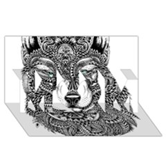 Intricate elegant wolf head illustration MOM 3D Greeting Card (8x4)