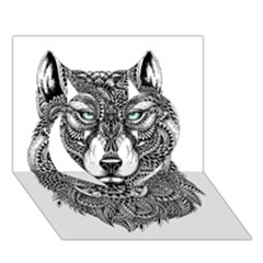 Intricate Elegant Wolf Head Illustration Heart 3d Greeting Card (7x5)
