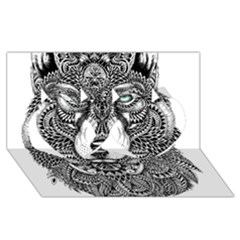 Intricate Elegant Wolf Head Illustration Twin Hearts 3d Greeting Card (8x4)