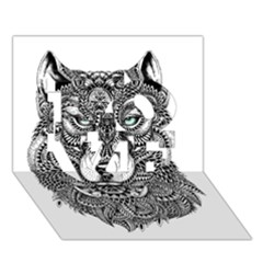 Intricate Elegant Wolf Head Illustration Love 3d Greeting Card (7x5)