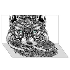 Intricate Elegant Wolf Head Illustration Twin Heart Bottom 3d Greeting Card (8x4)