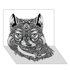 Intricate Elegant Wolf Head Illustration Circle Bottom 3d Greeting Card (7x5)