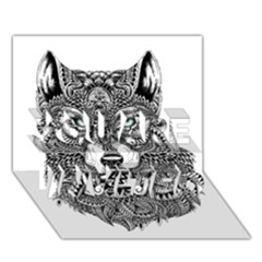 Intricate elegant wolf head illustration YOU ARE INVITED 3D Greeting Card (7x5)