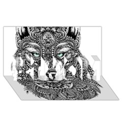 Intricate Elegant Wolf Head Illustration #1 Mom 3d Greeting Cards (8x4)