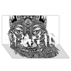Intricate elegant wolf head illustration BEST SIS 3D Greeting Card (8x4)