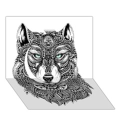 Intricate elegant wolf head illustration Circle 3D Greeting Card (7x5)