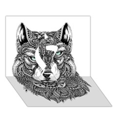 Intricate elegant wolf head illustration Ribbon 3D Greeting Card (7x5)