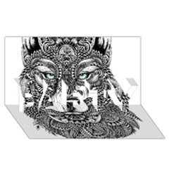 Intricate elegant wolf head illustration PARTY 3D Greeting Card (8x4)