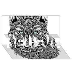 Intricate elegant wolf head illustration BELIEVE 3D Greeting Card (8x4)