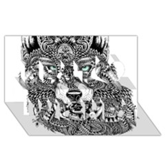 Intricate Elegant Wolf Head Illustration Best Wish 3d Greeting Card (8x4)