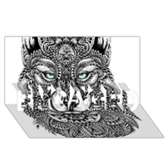 Intricate Elegant Wolf Head Illustration Engaged 3d Greeting Card (8x4)