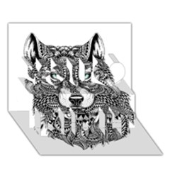 Intricate elegant wolf head illustration You Did It 3D Greeting Card (7x5)