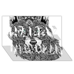 Intricate elegant wolf head illustration Happy New Year 3D Greeting Card (8x4)