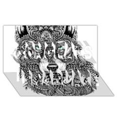 Intricate elegant wolf head illustration Congrats Graduate 3D Greeting Card (8x4)