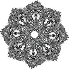 Intricate Elegant Wolf Head Illustration Hook Handle Umbrellas (small)