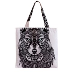 Intricate elegant wolf head illustration Grocery Tote Bags