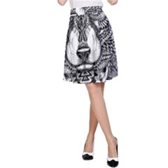 Intricate elegant wolf head illustration A-Line Skirts