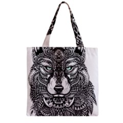Intricate elegant wolf head illustration Zipper Grocery Tote Bags