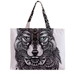 Intricate elegant wolf head illustration Zipper Tiny Tote Bags