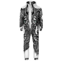 Intricate elegant wolf head illustration Hooded Jumpsuit (Men)