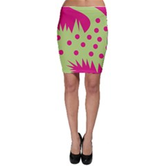 Fuzzy Animals Green And Pink Bodycon Skirts