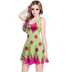Fuzzy Animals Green And Pink Reversible Sleeveless Dresses