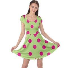Fuzzy Animals Green And Pink Cap Sleeve Dresses