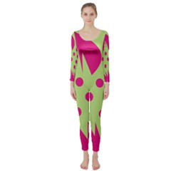 Fuzzy Animals Green And Pink Long Sleeve Catsuit