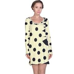 0012h Paleyellowandblackabstract1 Long Sleeve Nightdresses