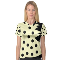 0012h Paleyellowandblackabstract1 Women s V-Neck Sport Mesh Tee
