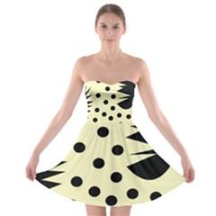 0012h Paleyellowandblackabstract1 Strapless Bra Top Dress