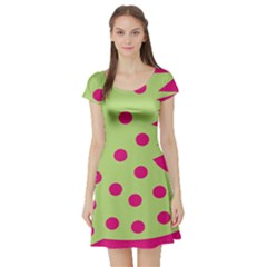 0012b Moongreenandmagentaabstract1 Short Sleeve Skater Dresses