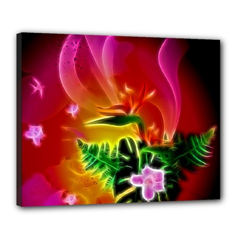 Awesome F?owers With Glowing Lines Canvas 20  X 16