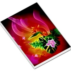 Awesome F?owers With Glowing Lines Large Memo Pads
