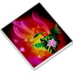 Awesome F?owers With Glowing Lines Small Memo Pads