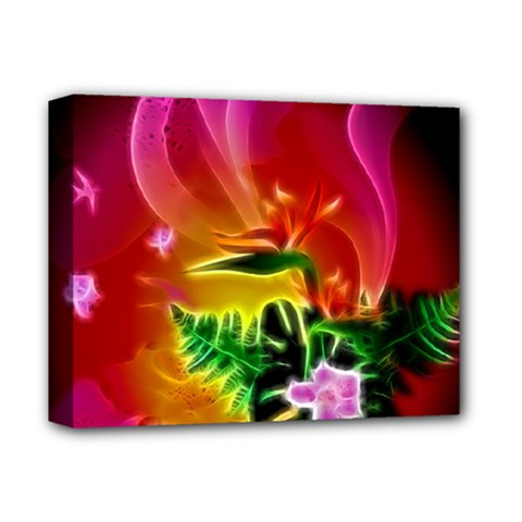 Awesome F?owers With Glowing Lines Deluxe Canvas 14  x 11