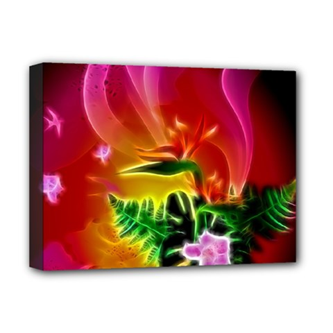 Awesome F?owers With Glowing Lines Deluxe Canvas 16  x 12