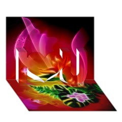 Awesome F?owers With Glowing Lines I Love You 3D Greeting Card (7x5)