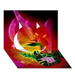 Awesome F?owers With Glowing Lines Heart 3D Greeting Card (7x5)
