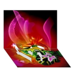 Awesome F?owers With Glowing Lines LOVE Bottom 3D Greeting Card (7x5)